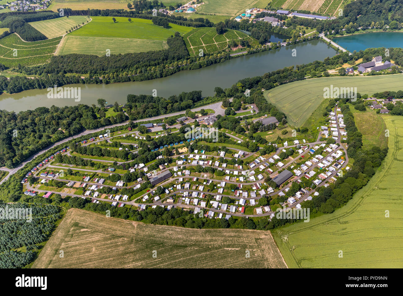 Aerial view, KNAUS Camping Park Hennesee, southern Hennesee, Meschede, Sauerland, North Rhine-Westphalia, Germany, DEU, Europe, birds-eyes view, aeria Stock Photo