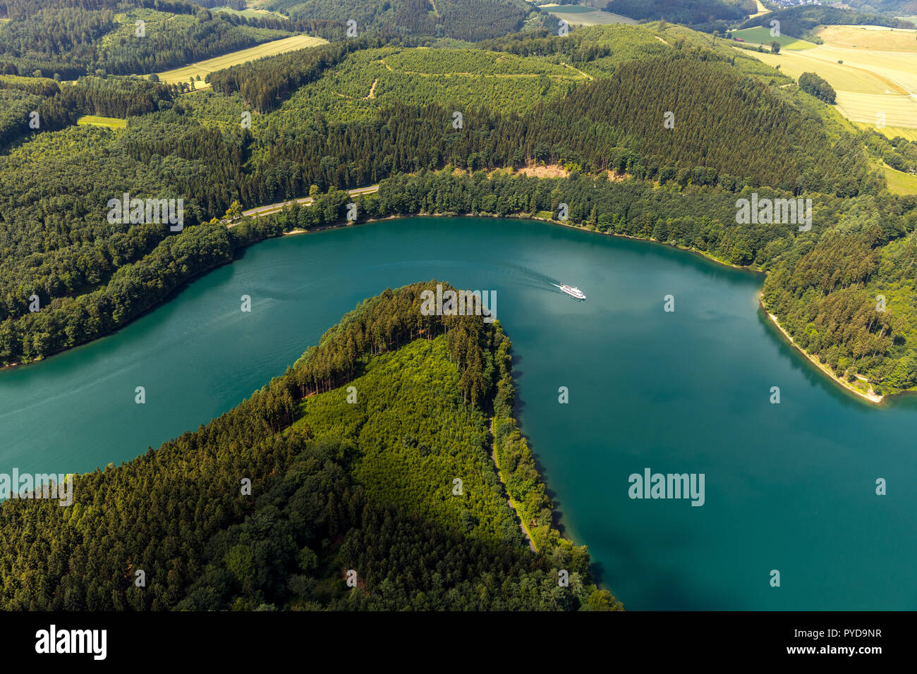 Aerial view, southern Hennesee, MS Hennesee, Meschede, Sauerland, lake, reservoir, North Rhine-Westphalia, Germany, Meschede, DEU, Europe, birds-eyes  Stock Photo