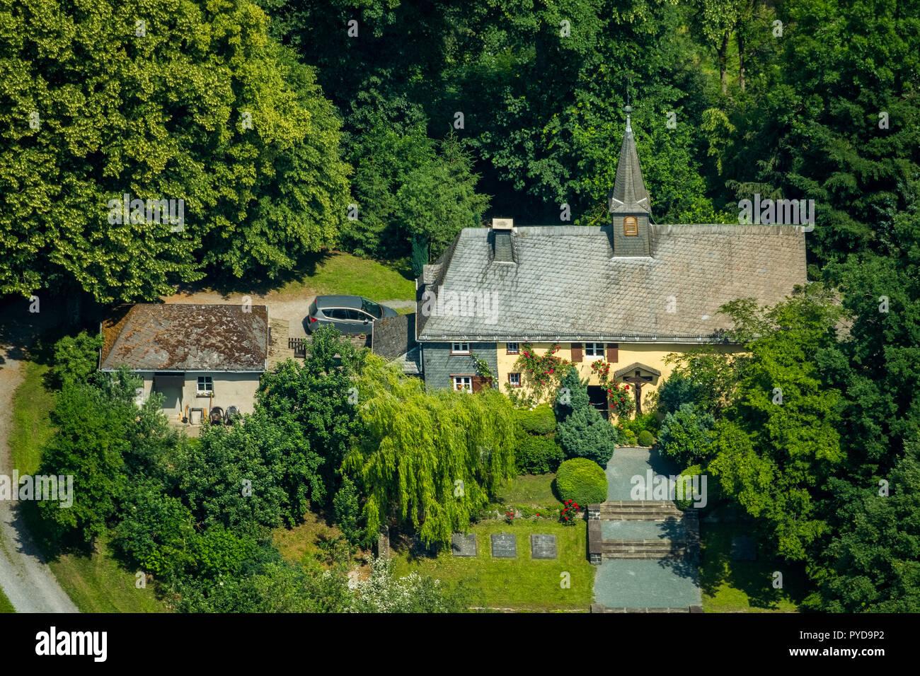 Aerial view, Klausen Chapel on Klausenweg, Meschede, Sauerland, North Rhine-Westphalia, Germany, DEU, Europe, birds-eyes view, aerial view, aerial pho - Stock Image