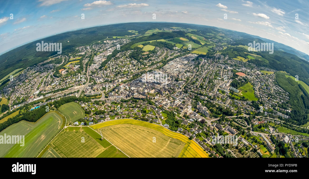 Aerial view, overview of Meschede, Meschede as fish eye image of south-west, Meschede, Sauerland, North Rhine-Westphalia, Germany, DEU, Europe, birds- - Stock Image