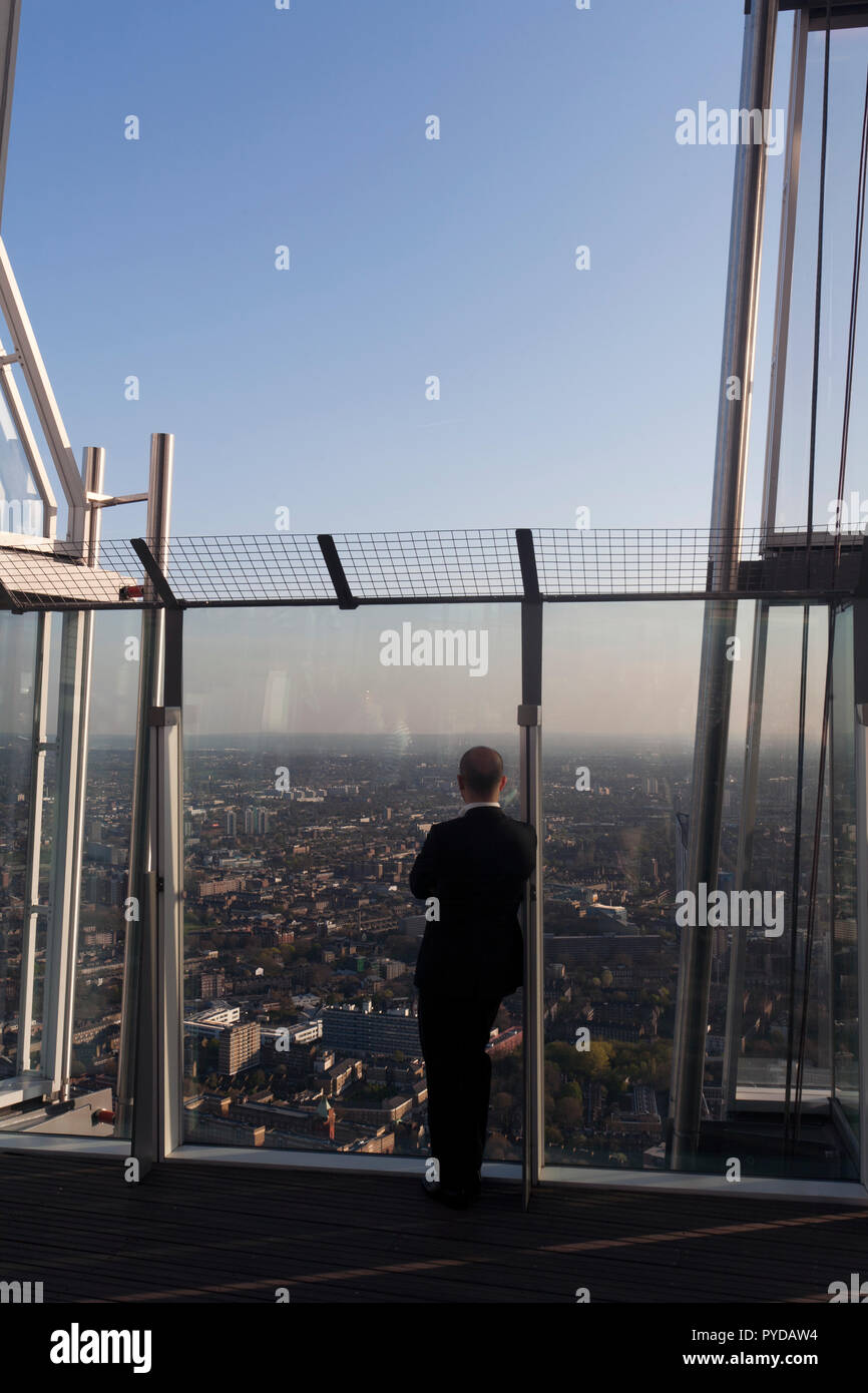 Man Contemplating The View From Top Floor The Terrace Of The Shard