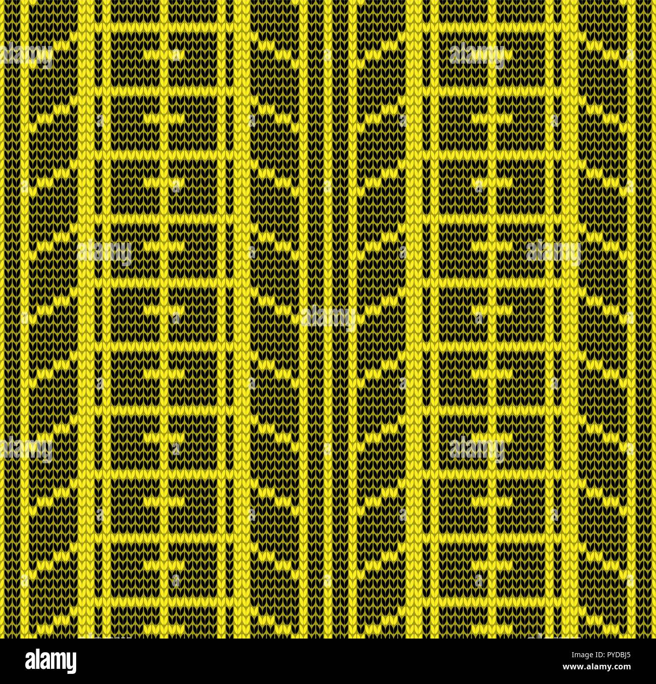 Abstract black and yellow seamless tire track knitting pattern background - Stock Vector