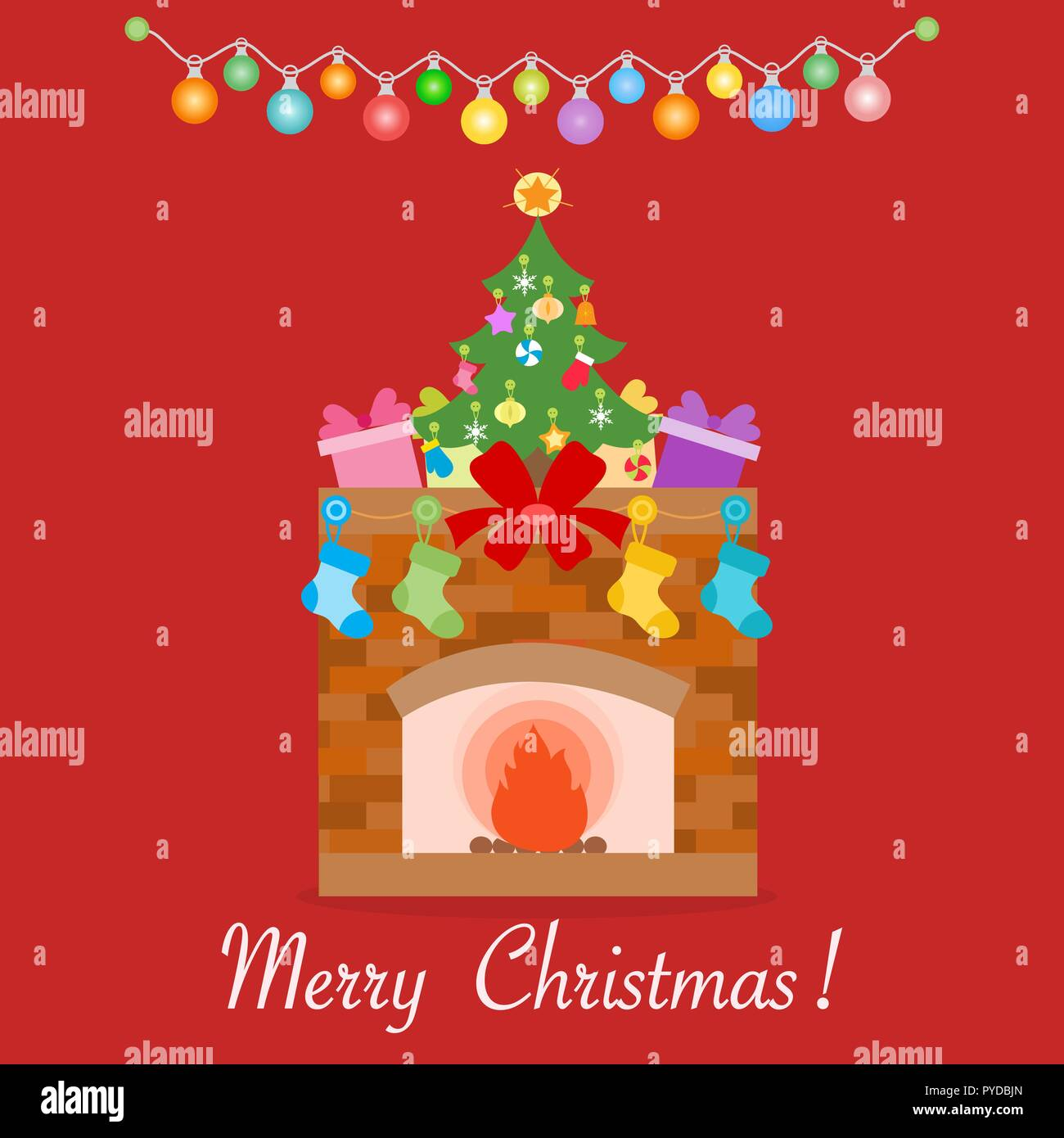 51516a6dfcdb Happy New Year 2019 and Christmas vector illustration. Fireplace, decorated  Christmas tree, gifts, Christmas socks, garlands.