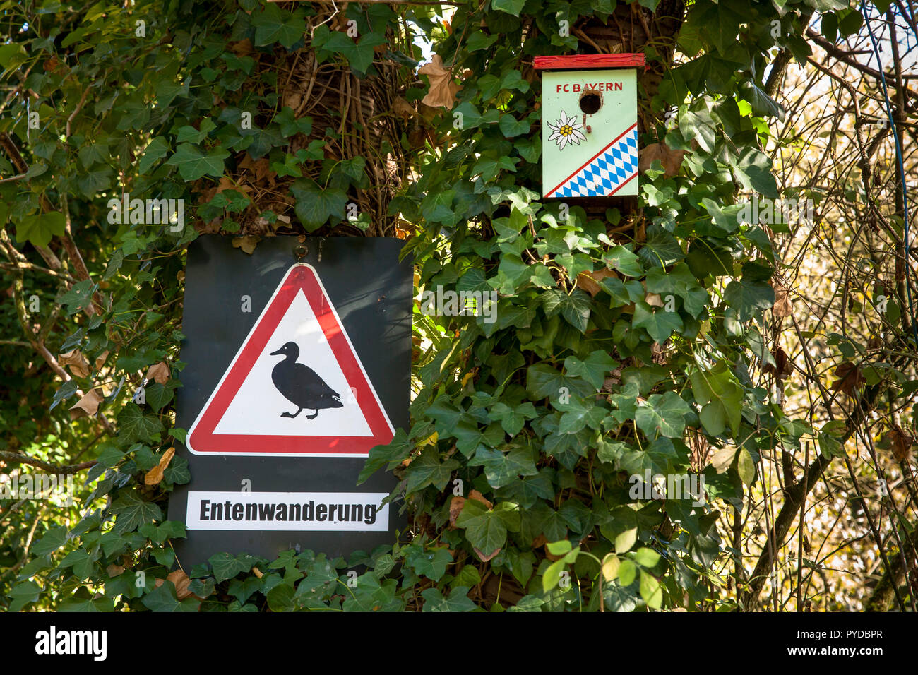 birdhouse of a fan of the fooball club FC Bayern Muenchen  in Herdecke, sign ducks crossing, Germany.  Vogelhaeuschen eines FC Bayern Muenchen Fans in - Stock Image