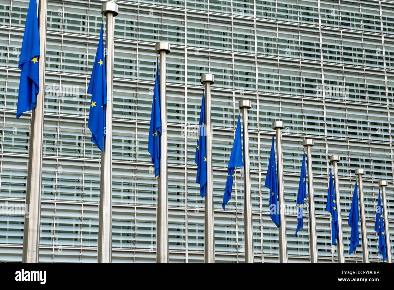 Belgium: European flags in front of European Commission in Brussels. Photo from 11. September 2016. | usage worldwide Stock Photo