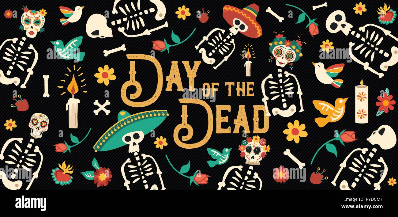 Day Of The Dead Sugar Skull Banner For Mexican Celebration Traditional Mexico Skeleton Decoration With Typography And Colorful Art