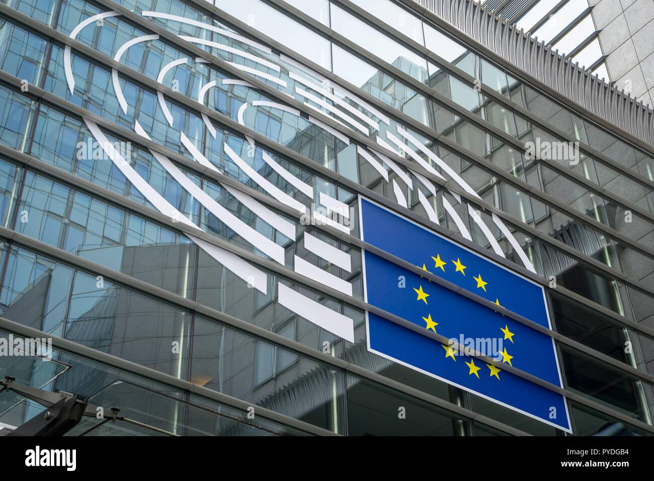 Belgium: European Parliament in Brussels as seen from Rue Wiertz. Photo from 12. August 2017. | usage worldwide Stock Photo