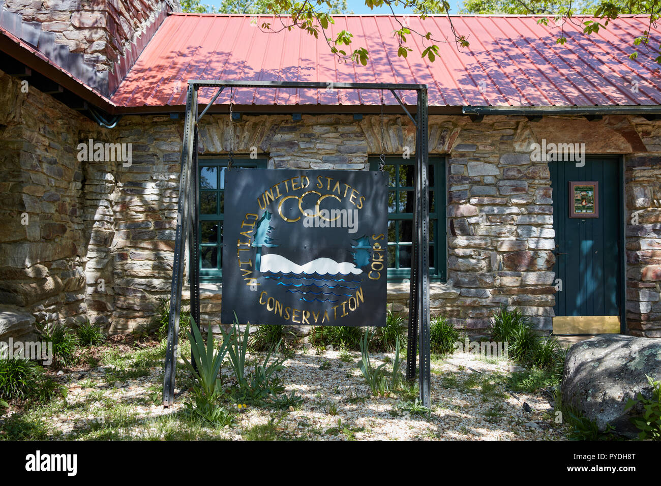 Civilian Conservation Corps sign at Cheaha State Park Observation Tower, Alabama - Stock Image