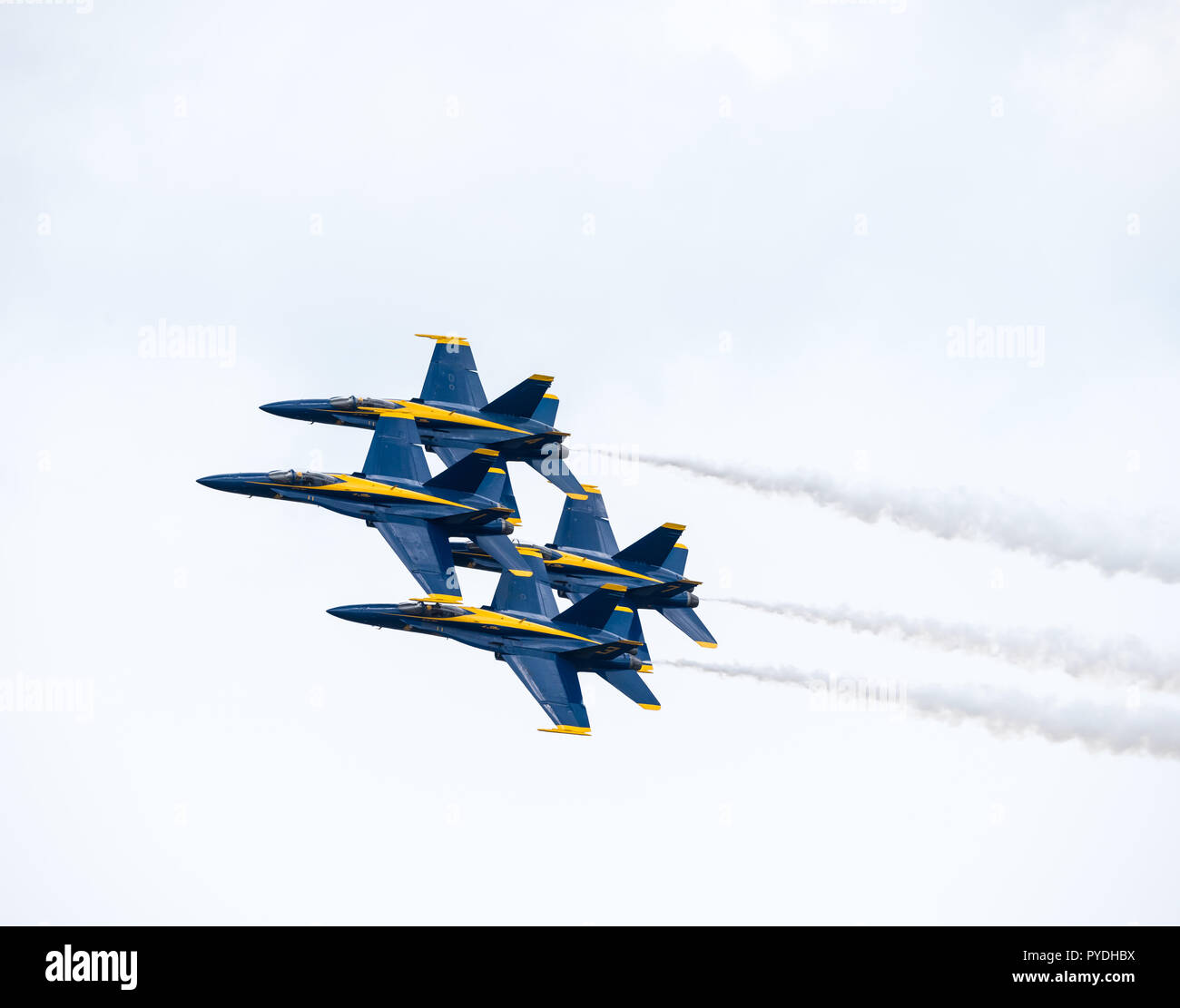 US Navy Blue Angels performing the Echelon Parade maneuver - Stock Image