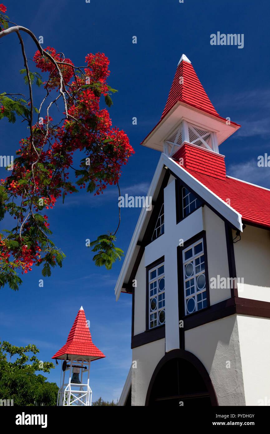 Notre Dame Auxiliatrice Chapel of the Roman Catholic Church, Cap Malheureux, Mauritius. - Stock Image