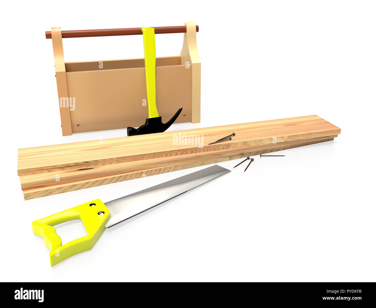 Hammer, hacksaw, toolbox, wooden planks and nails on white background, isolated. 3D rendering - Stock Image