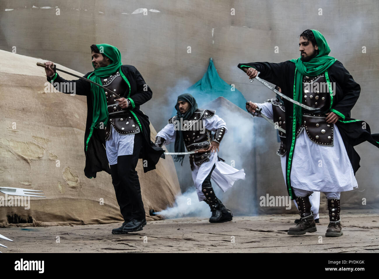 ISTANBUL / TURKEY - NOV 24, 2012: Shiite muslims stage the battle of Karbala - Stock Image