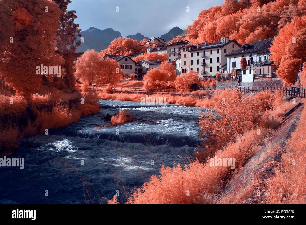Torrente Ardo - Belluno _ Infrared - Dolomites - Italy - Stock Image