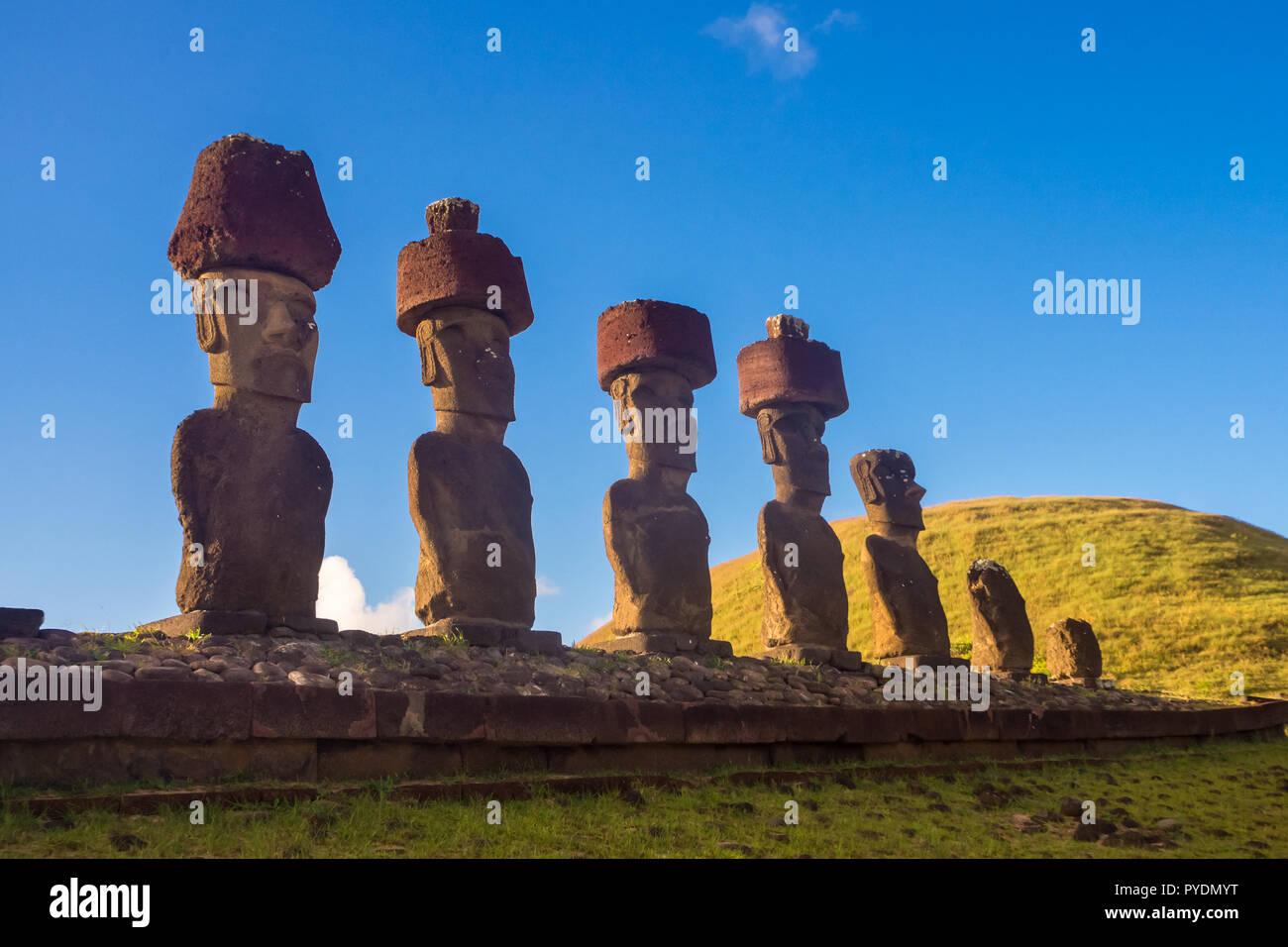 Ahu Nau Nau in Anakena beach. Easter Island in Chile. Rapa Nui - Stock Image