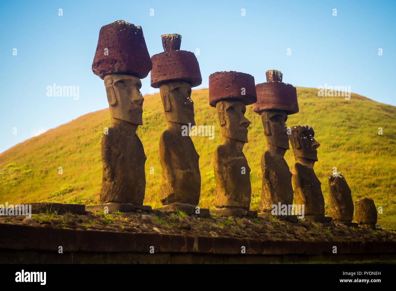 Moais of Ahu Nau Nau in Anakena beach in Easter Island, Chile - Stock Image