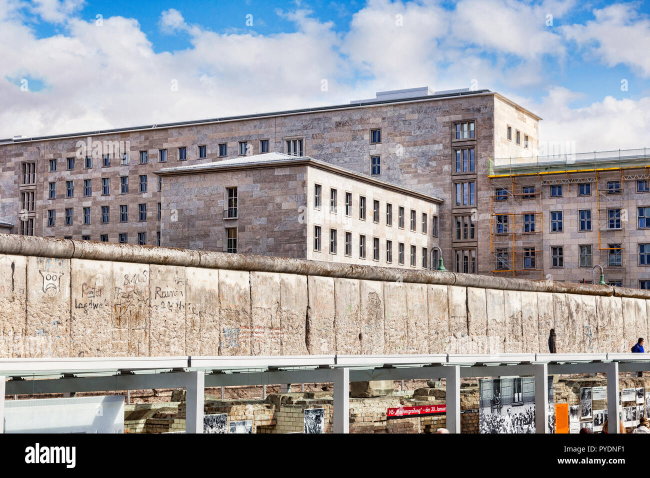 22 September 2018: Berlin, Germany - A preserved section of the Berlin Wall at Topography of Terror, on  Niederkirchnerstrasse, formerly Prinz-Albrech - Stock Image