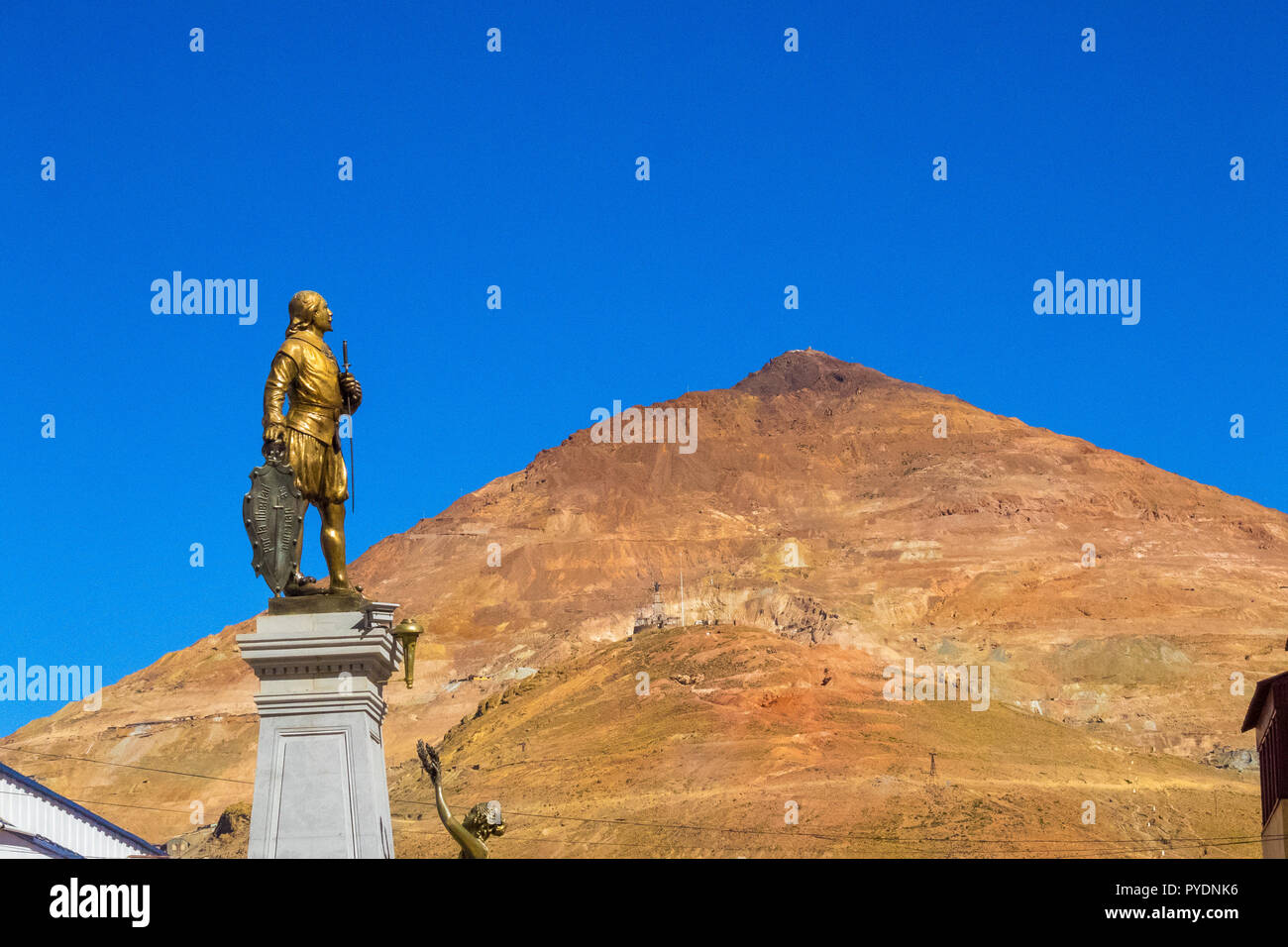 Potosi (UNESCO) in Bolivia - the world's highest city (4070m). Panoramic view over the city and the colored mountain, Cerro Rico with the working silv - Stock Image