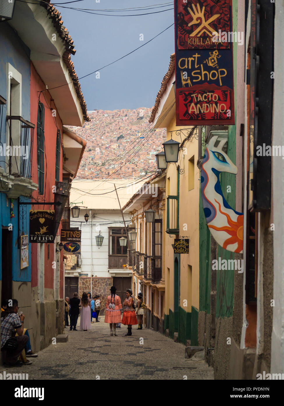 View on colonial buildings by jaen street in La Paz- Bolivia. South America - Stock Image