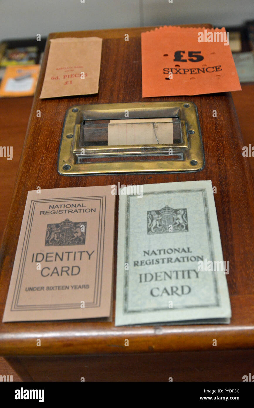 National Identity Cards at the We'll Meet Again WW2 Museum, Freiston, Freiston Shore, Lincolnshire, England, UK - Stock Image