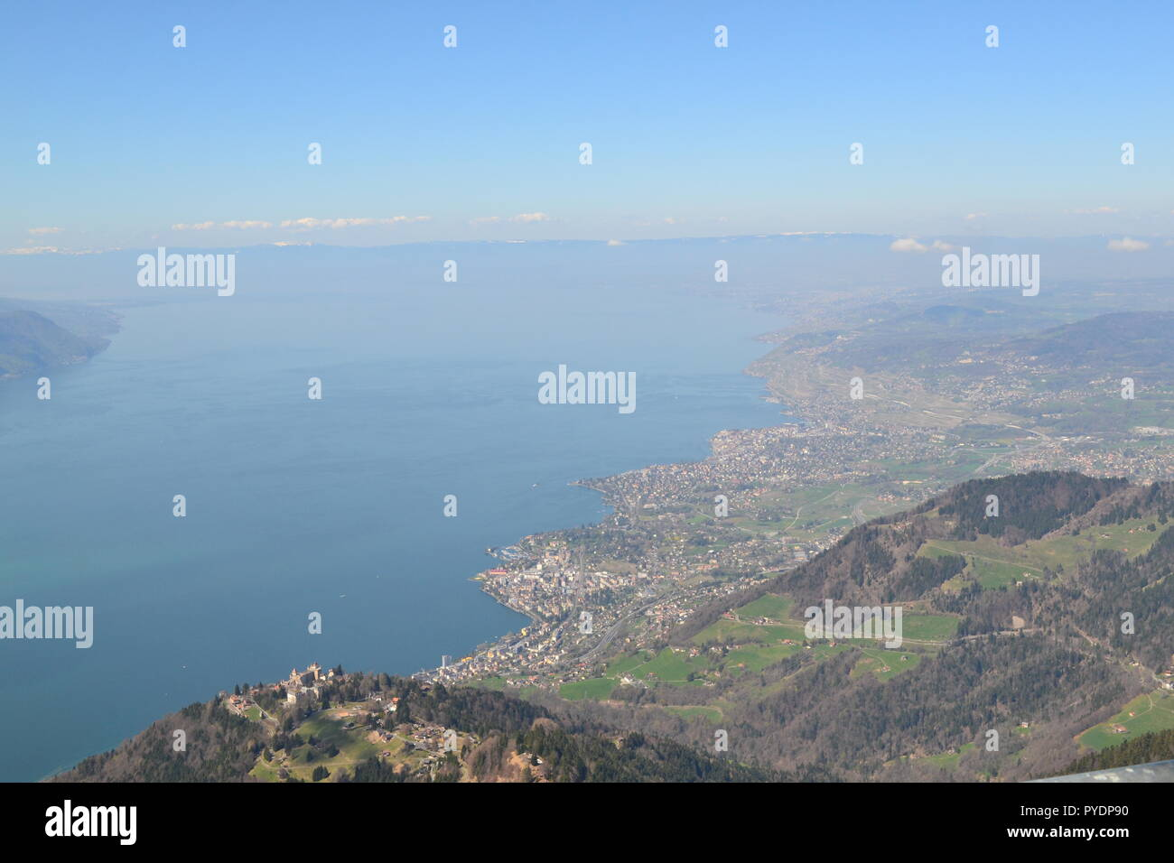 View over Lac Leman (Lake Geneva) from Les Rochers de Naye, near Montreux, Vaud, Switzerland, Europe - Stock Image