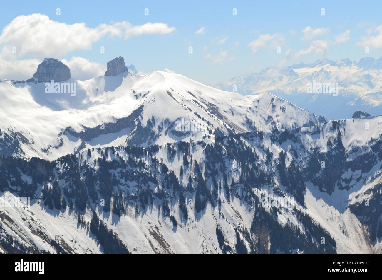 View from Les Rochers de Naye, reached by MOB train from Montreux. To west is Lake Geneva, Lausanne. To east famous peaks including Eiger, Monch etc - Stock Image