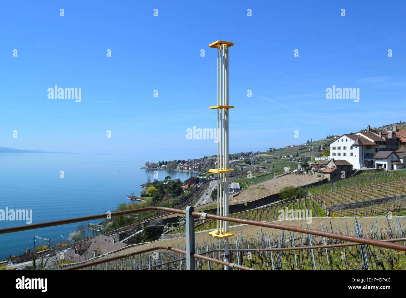 An anti-hail rocket launcher in Epesses, Vaud, Switzerland. Still used to protect grape crops yet science does not support the idea that they work. - Stock Image