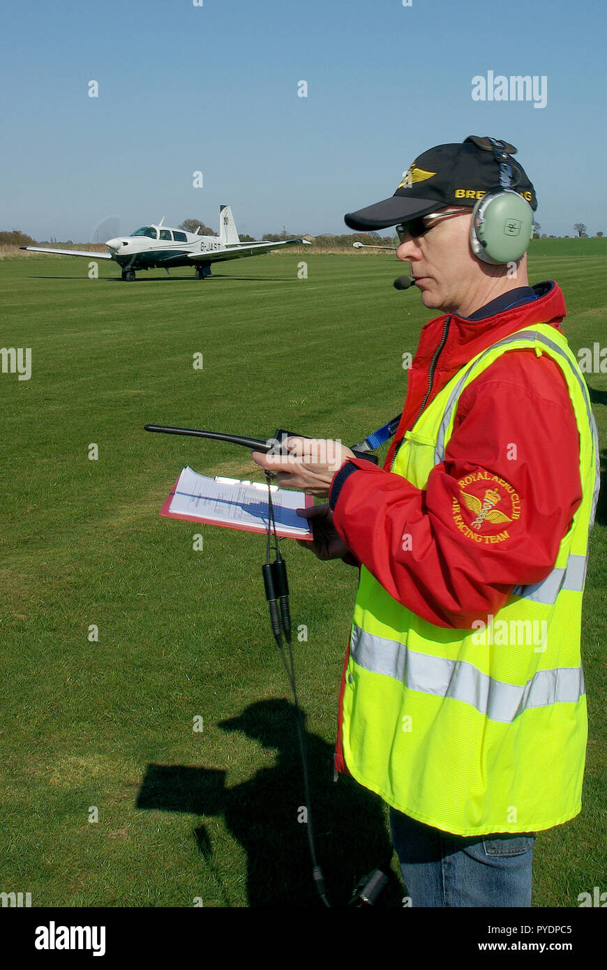 Official timekeeper at Royal Aero Club RAeC Air Race Series at Great Oakley airfield, Essex, UK. Organisation. Private flying - Stock Image