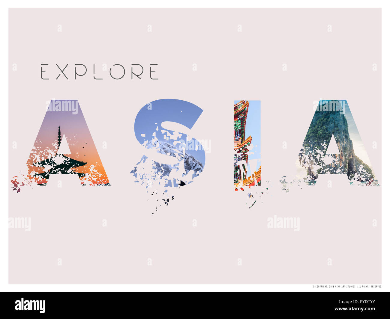 Explore Asia Minimalist Travel Poster.jpg - PYDTYY 1PYDTYY - Stock Image