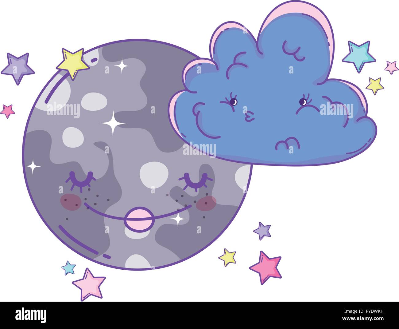 Clouds and moon cute cartoons - Stock Image