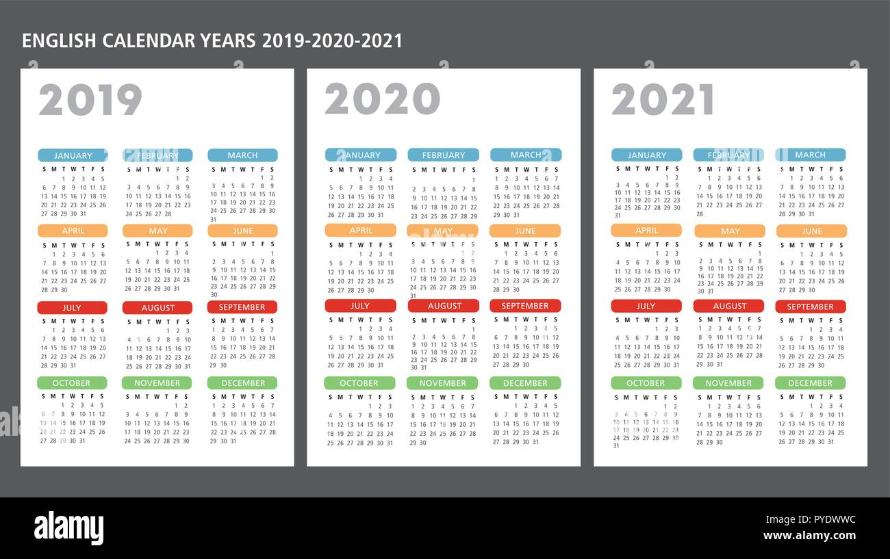 Calendario Gaf 2020.English Calendar Stock Photos English Calendar Stock