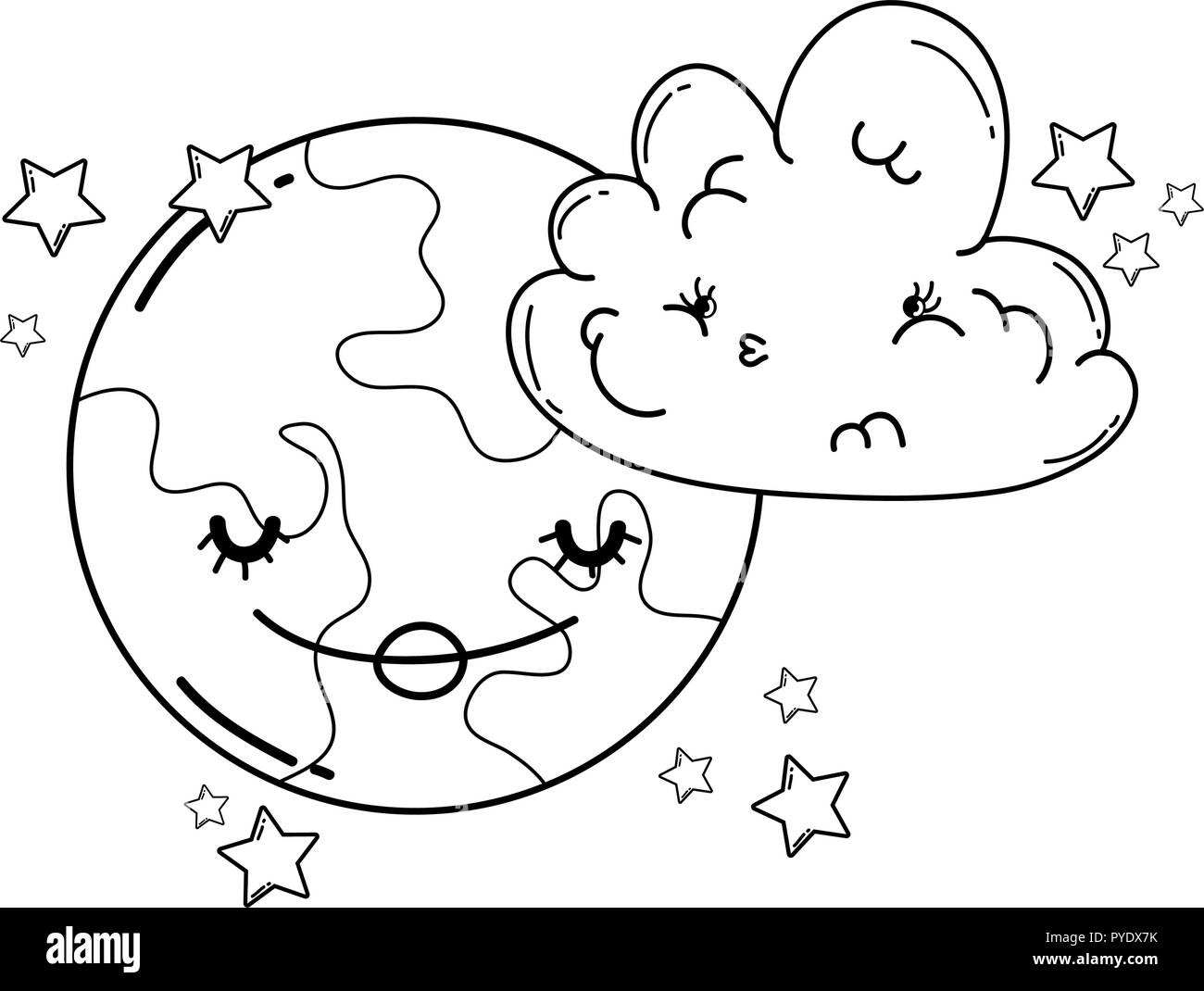 Clouds and moon cute cartoons in black and white - Stock Image