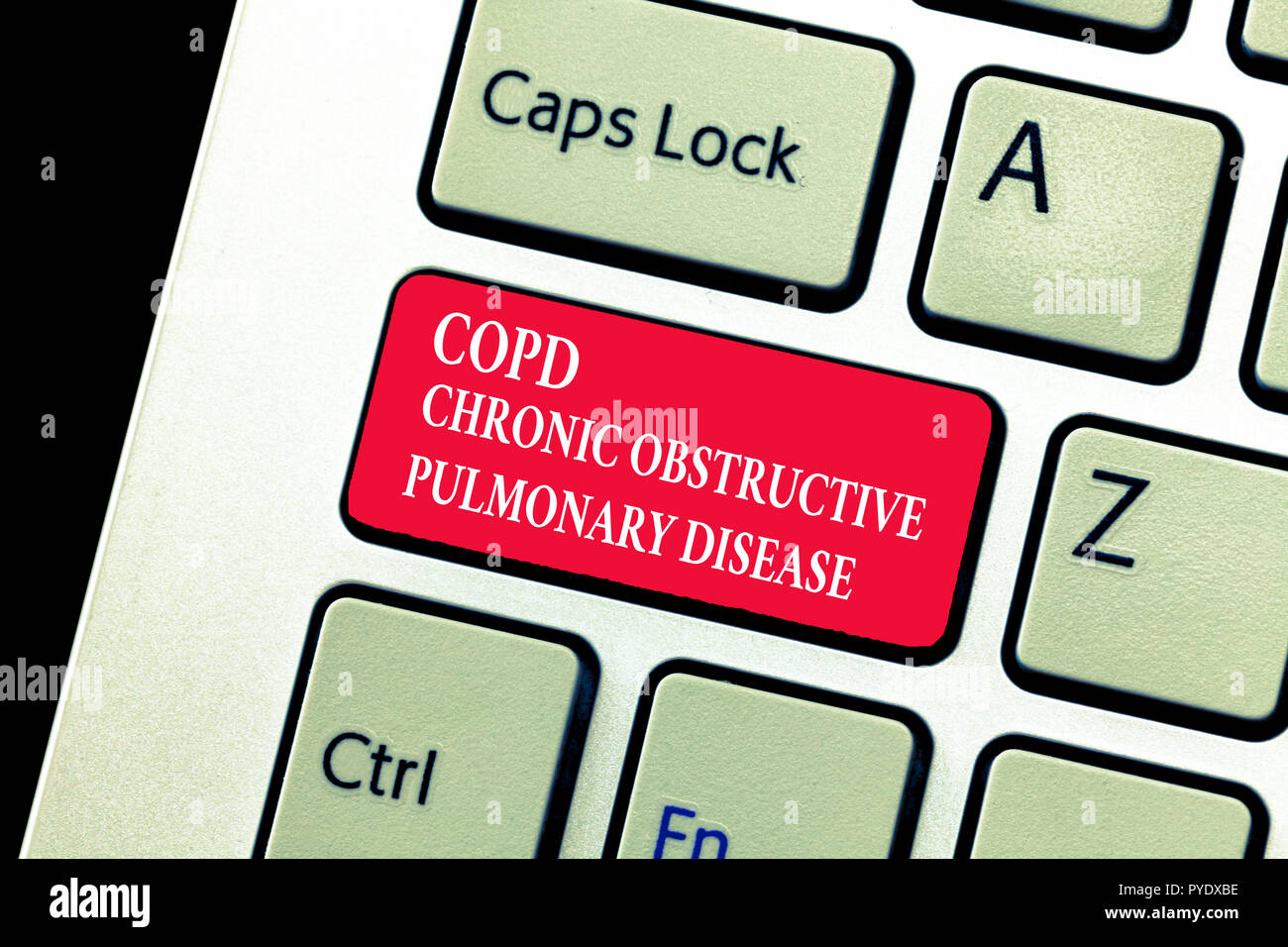 Handwriting text writing Copd Chronic Obstructive Pulmonary Disease. Concept meaning Lung disease Difficulty to breath. - Stock Image