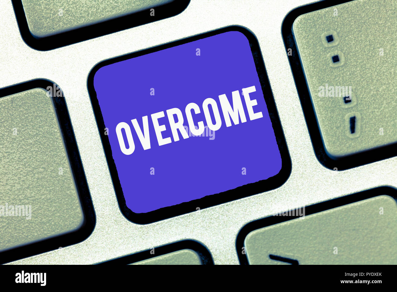 Handwriting text Overcome. Concept meaning succeed in dealing with problem or difficulty defeat opponent. Stock Photo