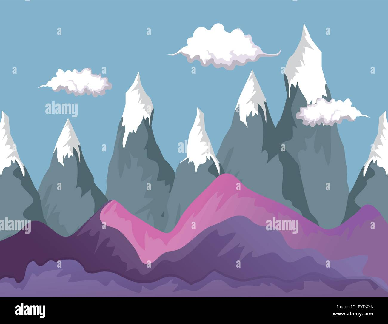clouds with ice mountains wanderlust landscape - Stock Vector