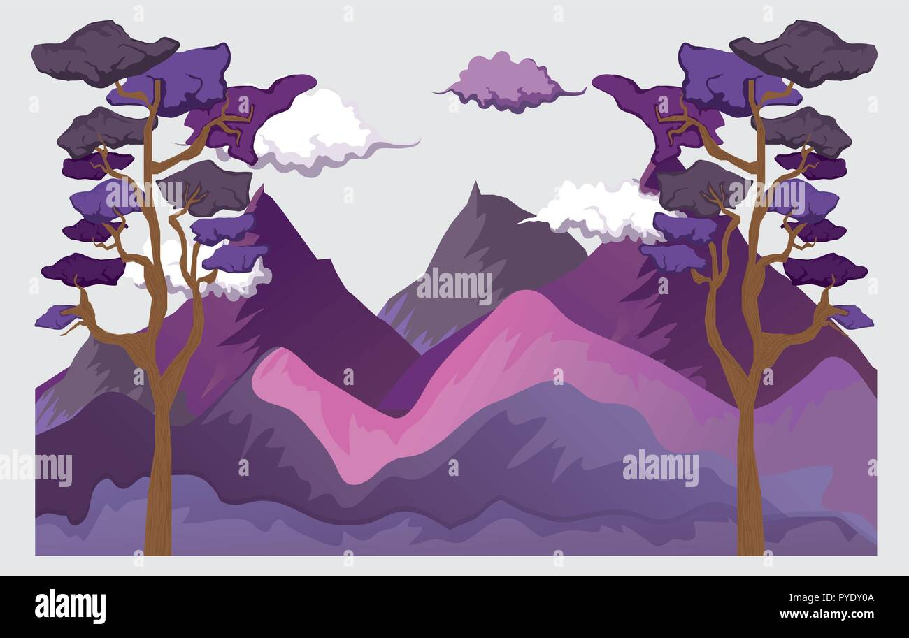 clouds with mountains and trees nature landscape - Stock Vector