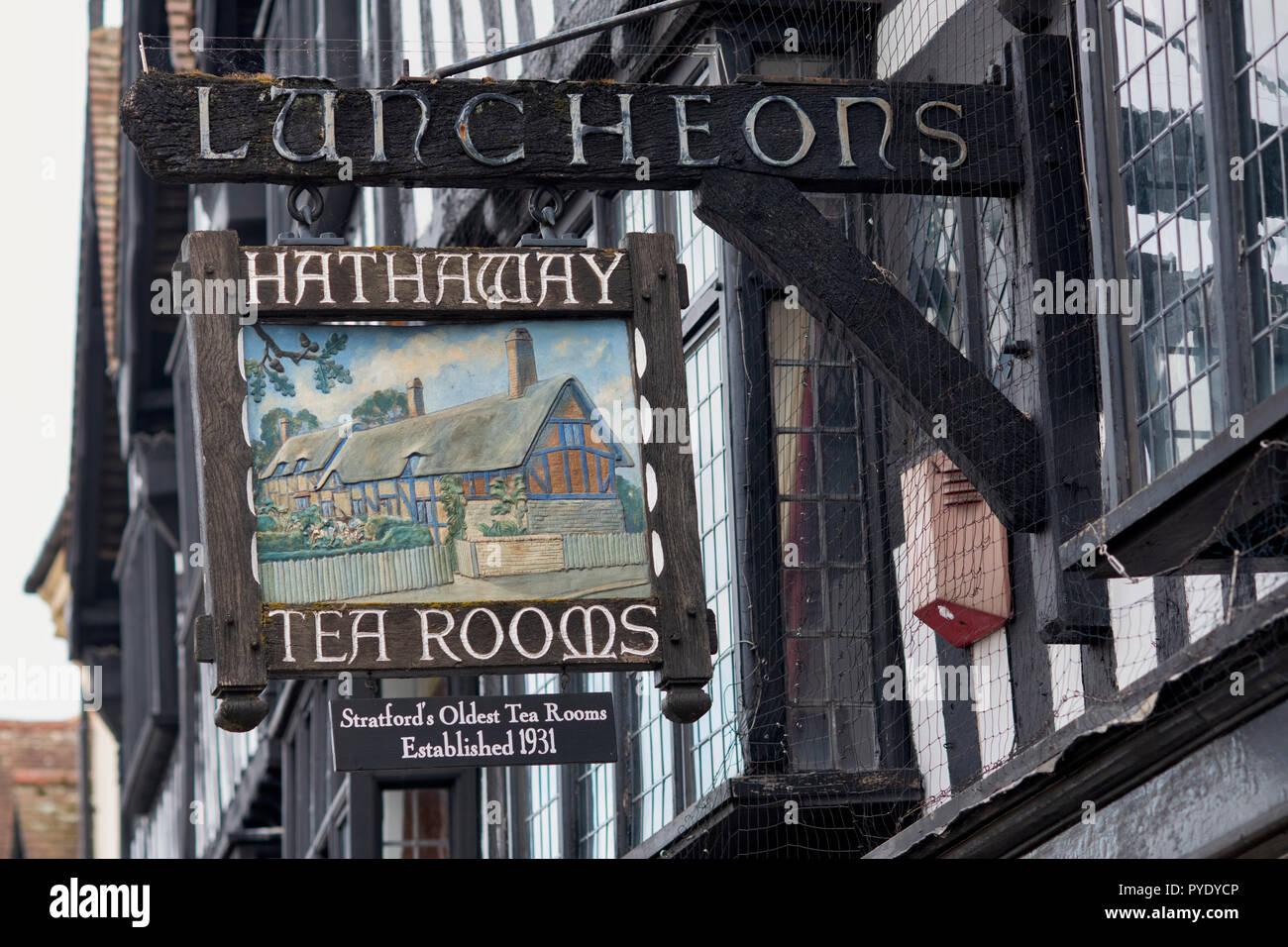 Hathaway tea rooms sign, High Street, Stratford upon Avon, Warwickshire, England Stock Photo