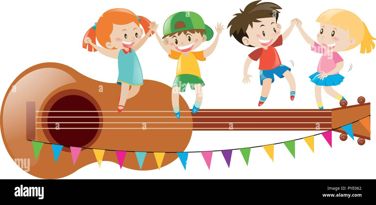 Kids Dancing On Giant Guitar Illustration Stock Vector Image Art Alamy