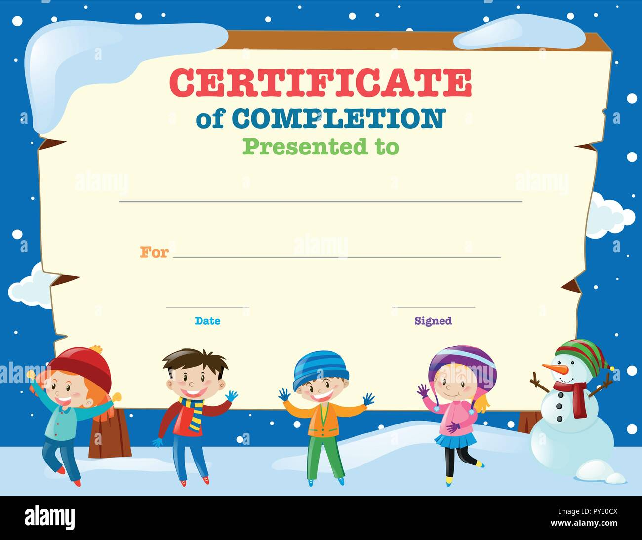 Certificate Template With Kids In The Snow Illustration Stock Vector
