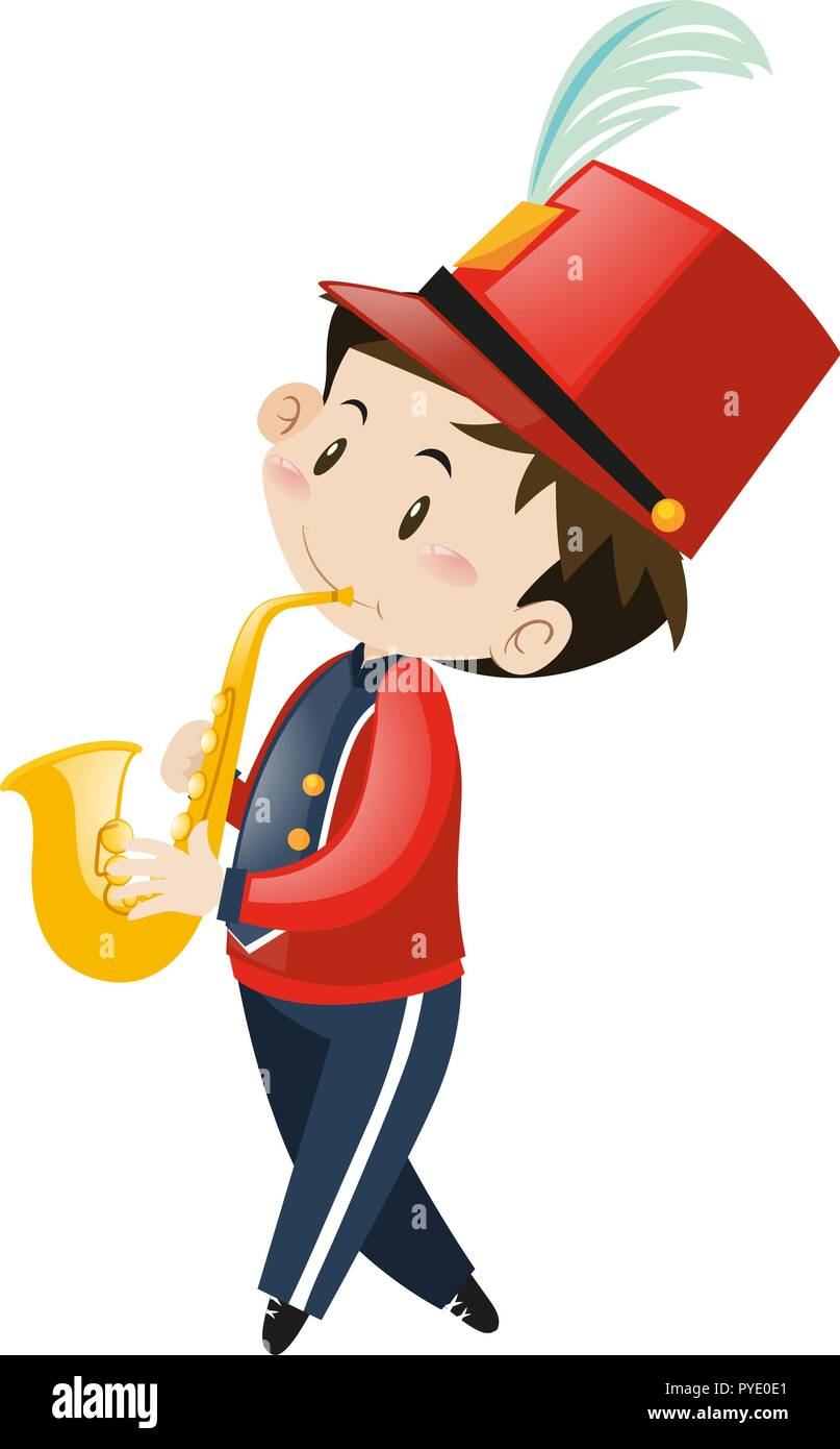 School band member playing saxophone illustration - Stock Image