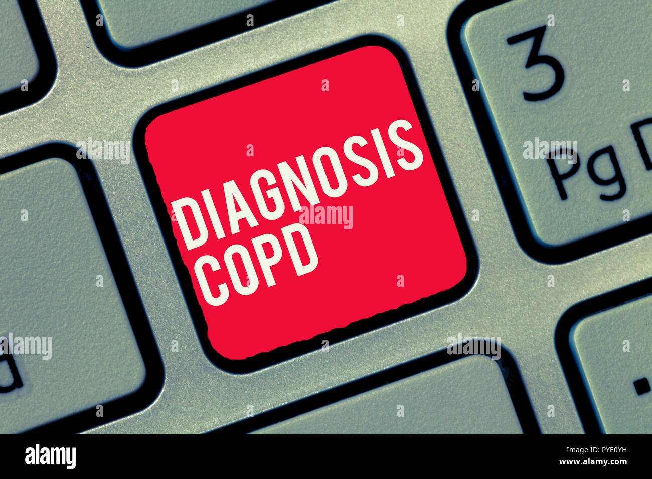 Word writing text Diagnosis Copd. Business concept for obstruction of lung airflow that hinders with breathing. - Stock Image
