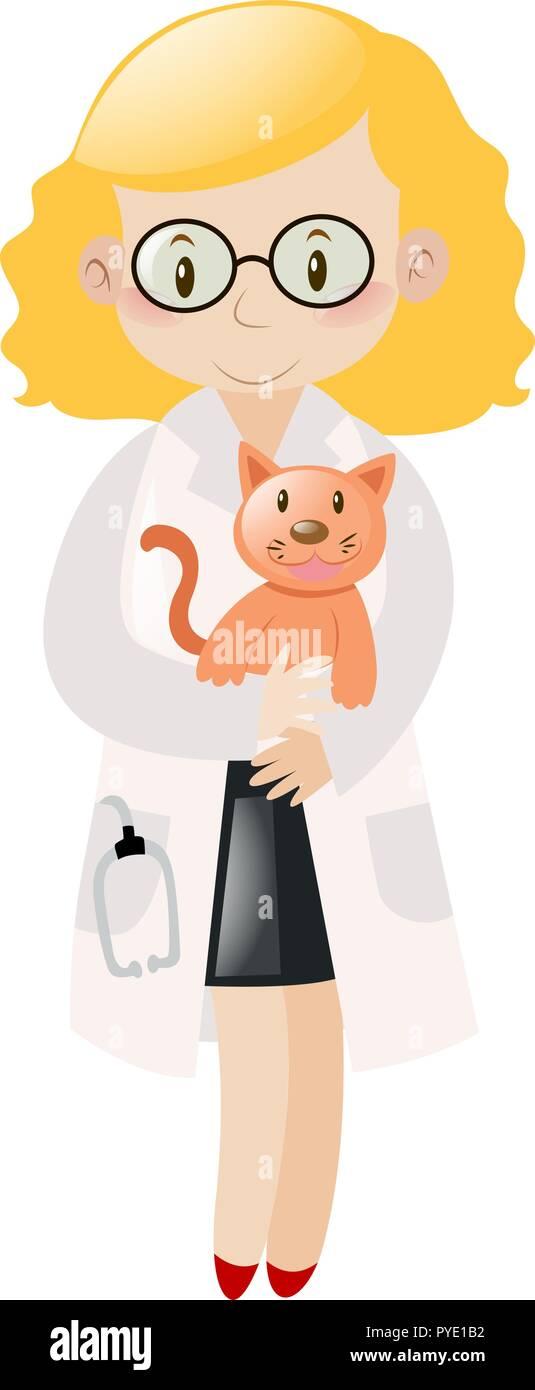 Female vet hugging pet cat illustration - Stock Vector
