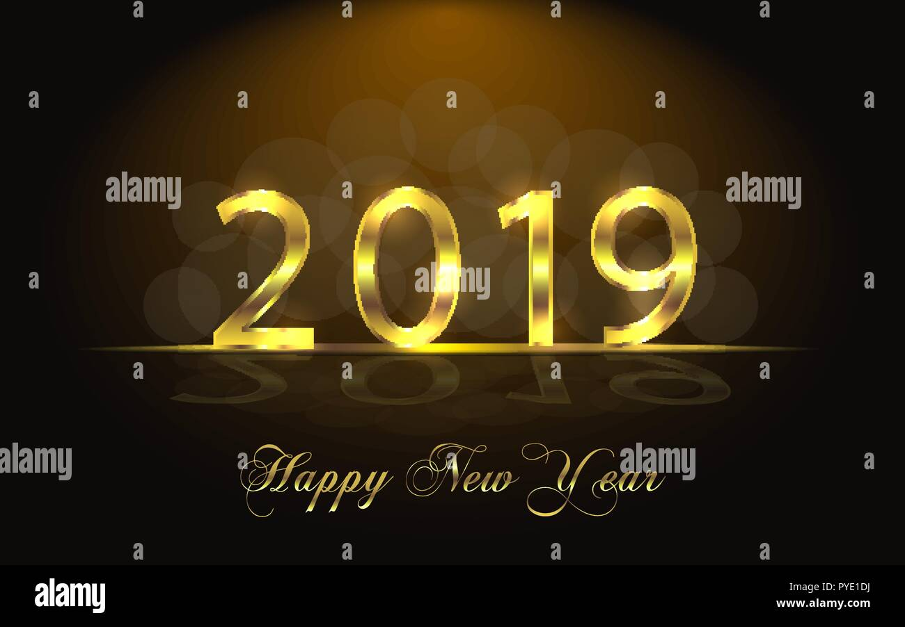 happy new year 2019 background with golden sparkling texture gold numbers 1 2 0 9 light effect vector illustration