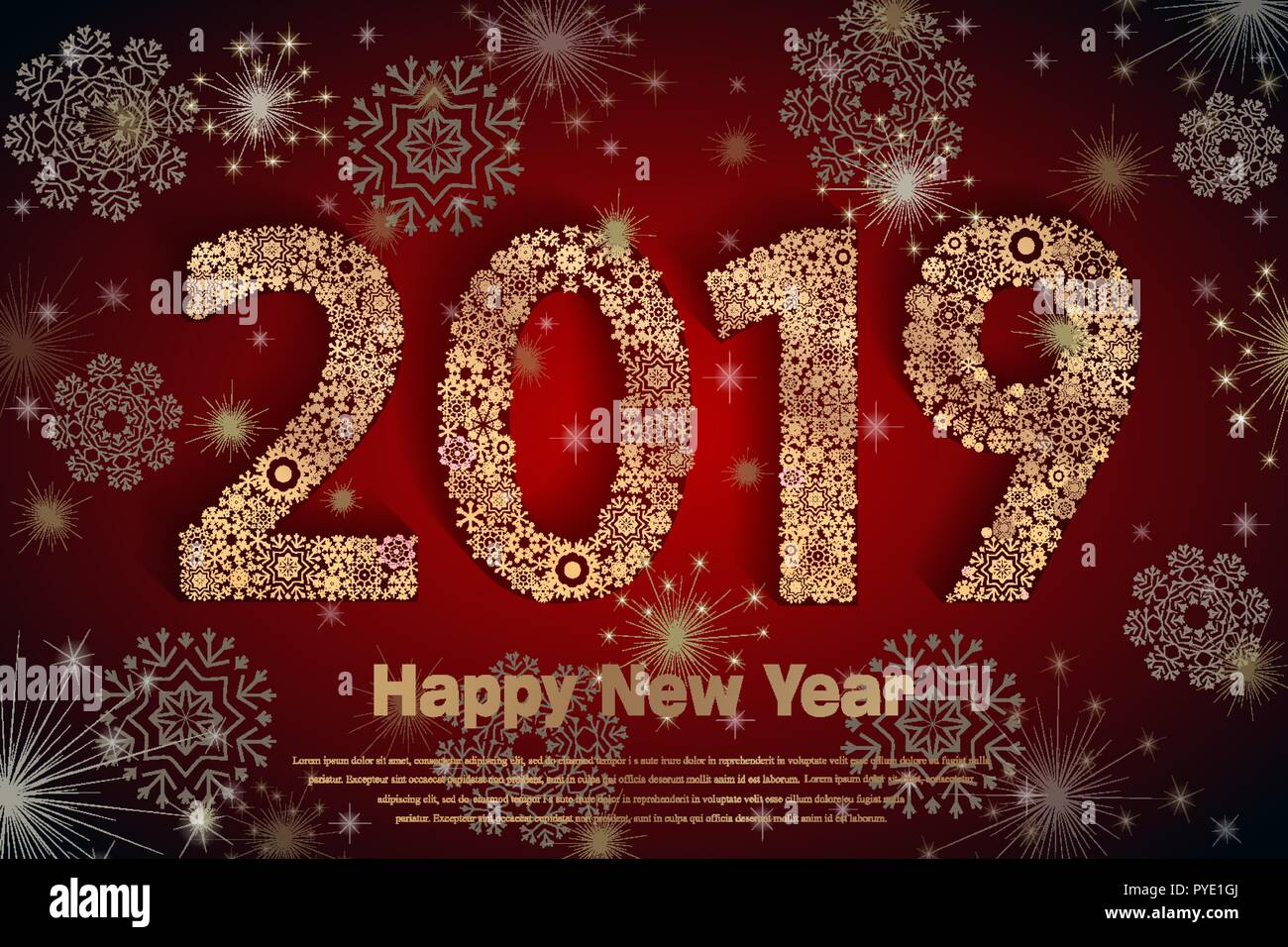 vector 2018 happy new year holiday banner with sparkling glitter golden textured snowflake and figures seasonal holidays background new year greeting card