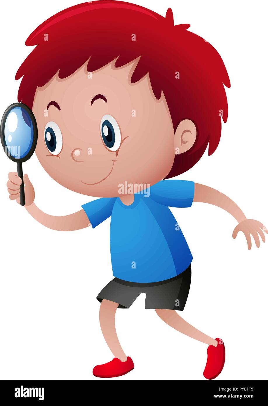 Boy looking through magnifying glass illustration - Stock Vector