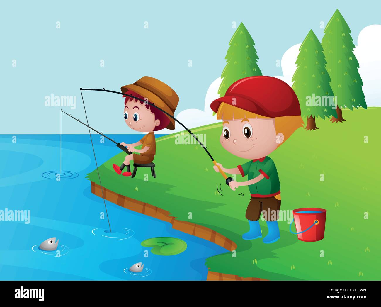 Two Boys Fishing By The River Illustration Stock Vector Image Art Alamy