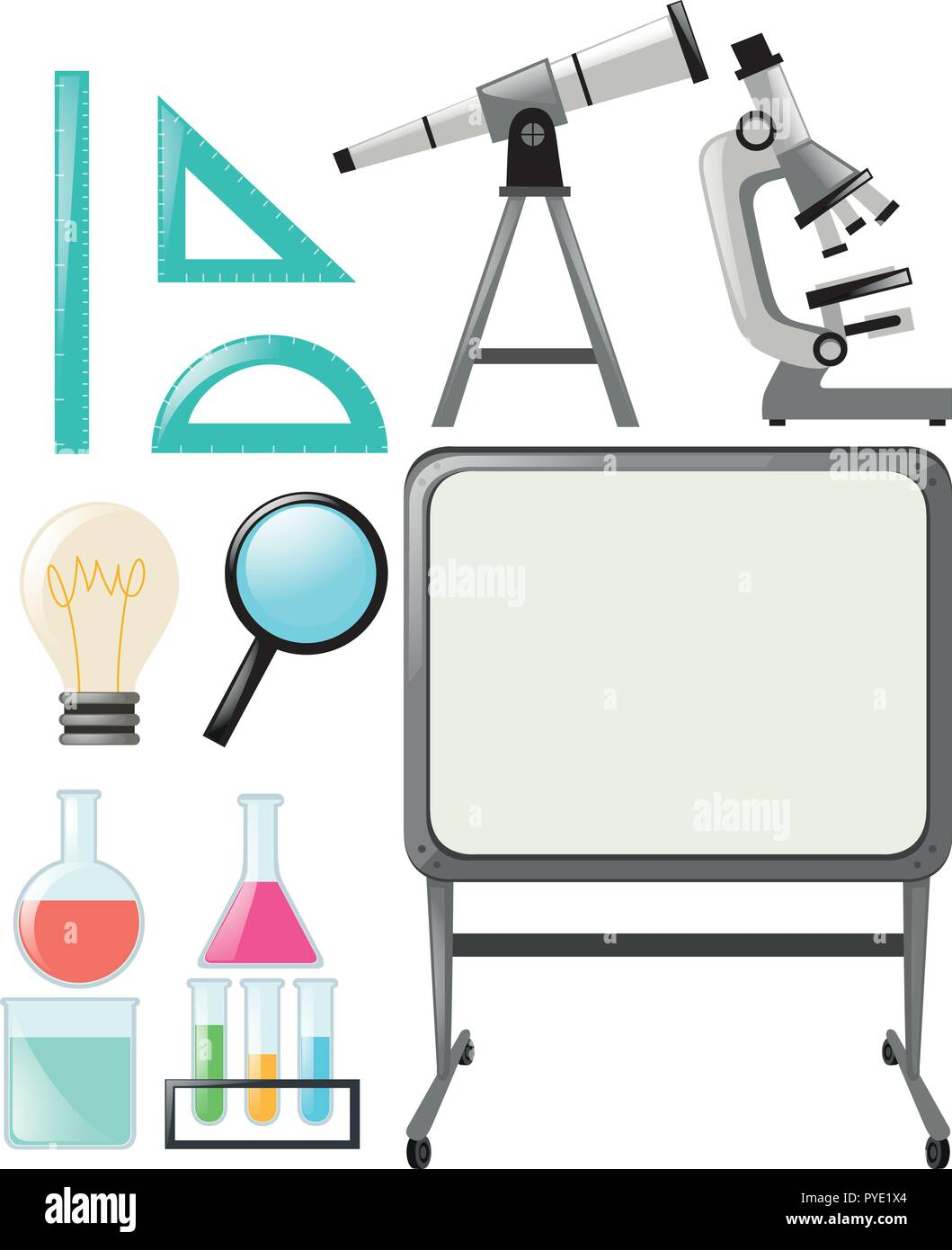 Science objects and whiteboard  illustration - Stock Vector