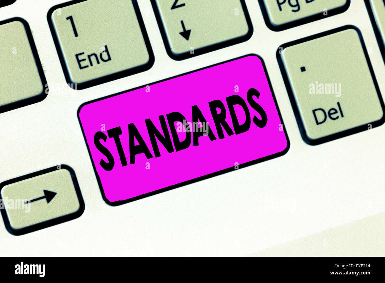 Word writing text Standards. Business concept for Level of quality Guideline Measure Example Model to follow. - Stock Image