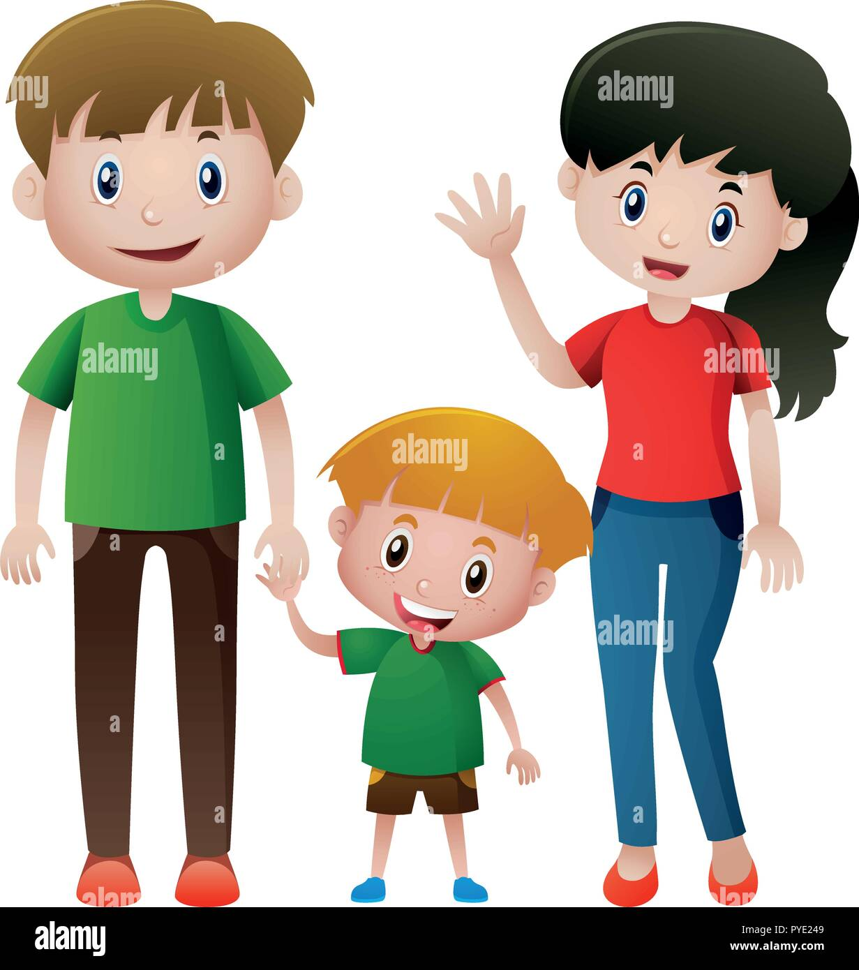Family with one son illustration - Stock Vector