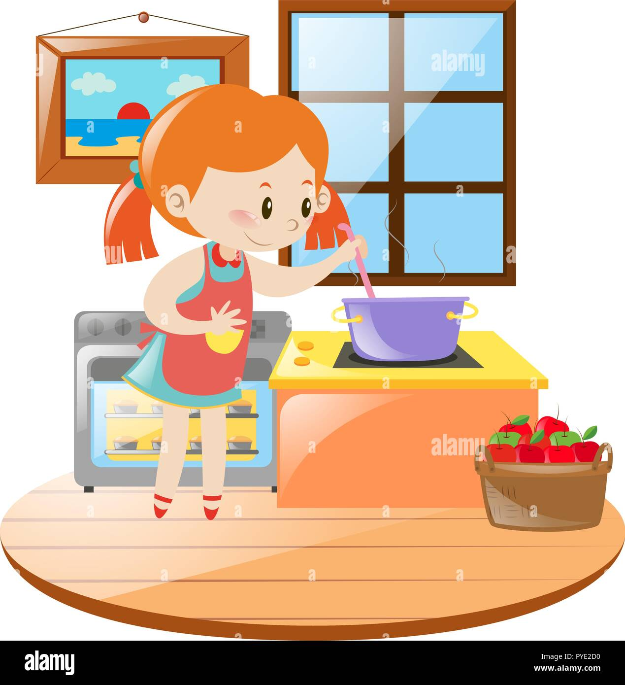 Girl cooking in the kitchen illustration