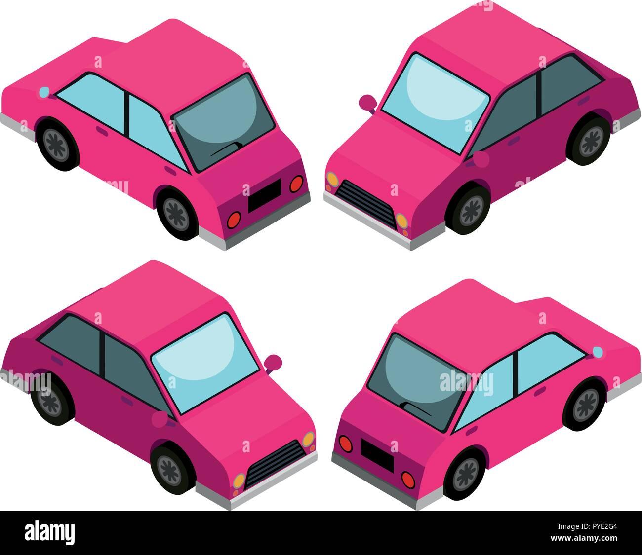 3D design for pink car illustration Stock Vector